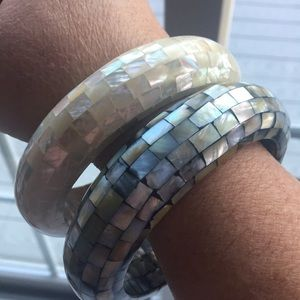 Jewelry - Abalone and mother-of-pearl bangle bracelets (2)